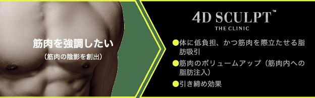 脂肪を無くしたうえで、筋肉を強調したい方には「ベイザー4Dスカルプト」がおすすめ